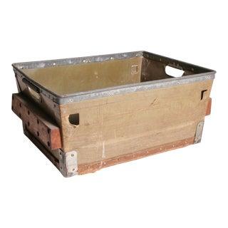 Vintage Industrial Green Fiber Tote Basket