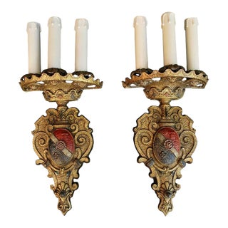1920s Spanish Colonial Brass Sconces - a Pair For Sale