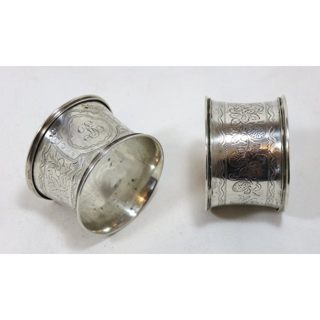 This is a absolutely beautiful matched pair of antique American Victorian Coin Silver Wedding Napkin Rings. LARGE SIZE -...