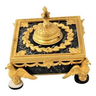1910 French Napoleonic Style Marble and Brass Ink Well For Sale