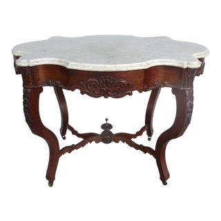 Victorian Marble Top Parlor Table on Casters For Sale