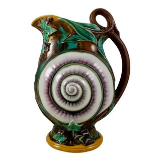 Wedgwood Majolica Snail Shell & Ivy Pitcher, C.1870 For Sale