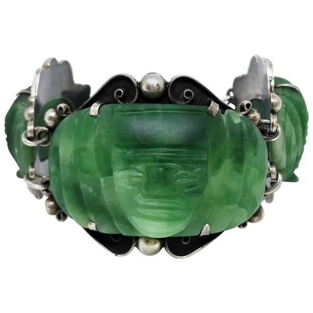 1930s Sterling Silver and Carved Green Onyx Mask Bracelet For Sale In Los Angeles - Image 6 of 6
