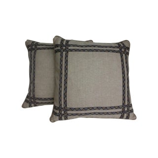 Linen Pillows with Vintage Gray Trim - A Pair For Sale