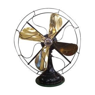 Robbins & Meyers Brass & Steel Desk Fan For Sale