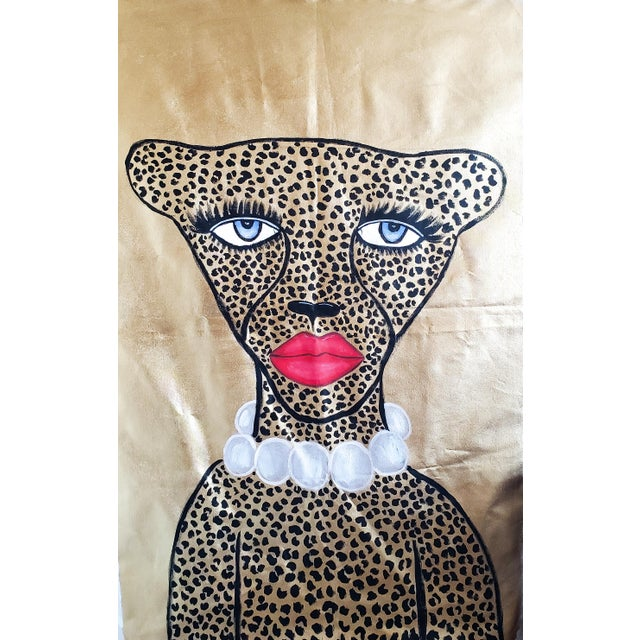 Golden Glam Cheetah Painting by Kendra Dandy *Price Is Firm* For Sale