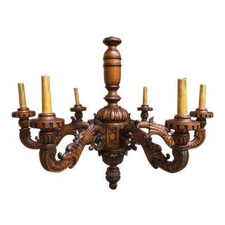 Large Antique Renaissance Revival French Carved Wood Chandelier Lighting Fixture For Sale