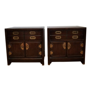 1970s Campaign Hickory Manufacturing Co. Nightstands - a Pair For Sale