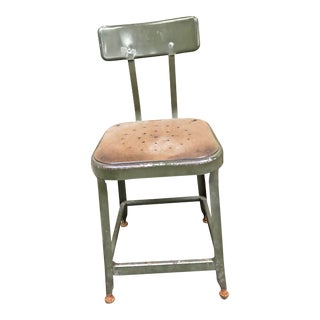 Vintage Industrial Metal Drafting Stool by Lyon Industries For Sale