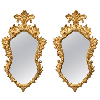 Pair of 1940s Italian Carved Gilt Wood Mirrors With Antiqued Glass For Sale