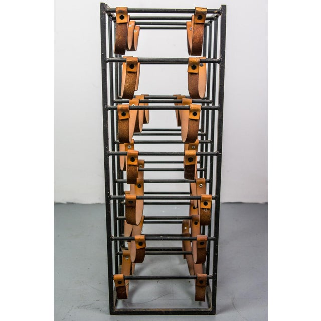 Brown Pair of Iron and Leather Wine Racks by Arthur Umanoff, 1950s For Sale - Image 8 of 9