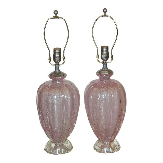 Mid Century Modern Seguso Murano Italian Art Glass Table Lamps For Sale
