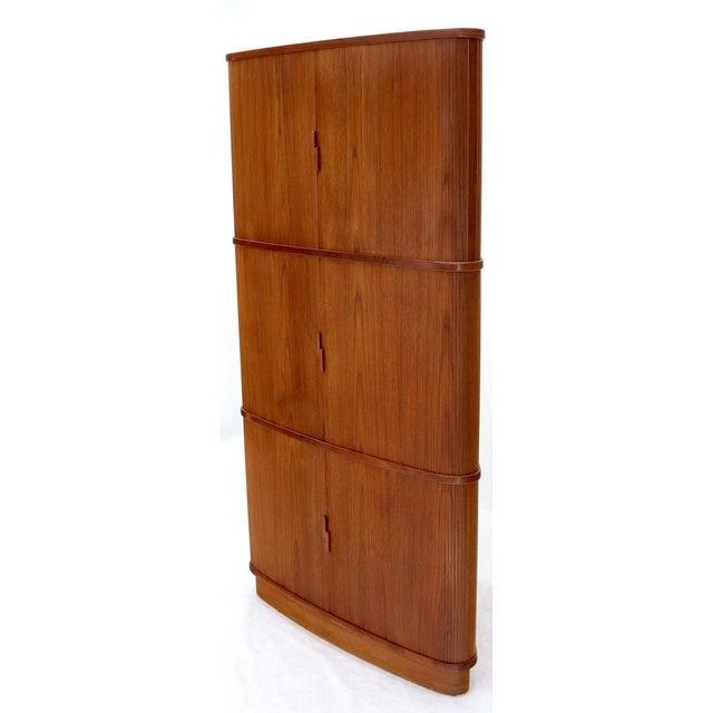 Mid-Century Modern Rare Large Tambour Door Danish Modern Teak Corner Cabinet For Sale - Image 3 of 13