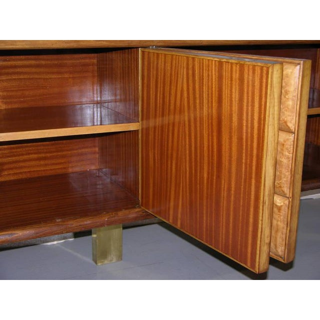 Gold 1940s Minimalist Dark & Light Wood Cabinet Sideboard on Brass Legs For Sale - Image 8 of 12