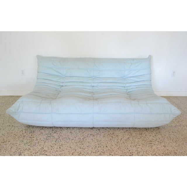 """Blue Ligne Rose """"Togo"""" 3 Piece Sectional by Michel Ducaroy For Sale - Image 8 of 11"""