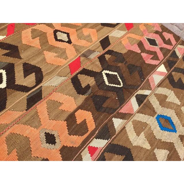 Vintage Brown Turkish Kilim Rug For Sale - Image 4 of 10