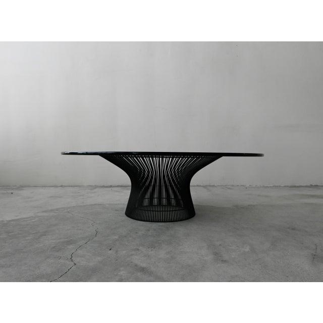 Authentic Mid Century Wire & Glass Coffee Table by Warren Platner for Knoll. The table is the original black and in...