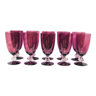 Vintage Amethyst Colored Water Glasses - Set of 10