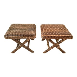 1980s Vintage Woven Seagrass X Bench Ottomans - a Pair For Sale