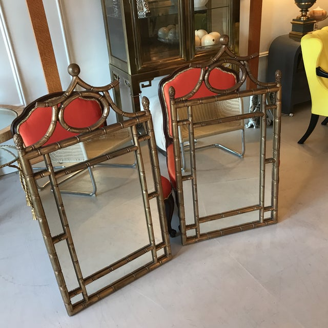Brown Chinoiserie Gilt Faux Bamboo Mirrors - a Pair For Sale - Image 8 of 8