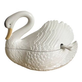 Italian Mid Century Ceramic Swan Tureen With Ladle For Sale