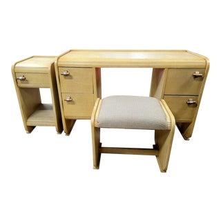 3 Piece Wooden Art Deco Desk For Sale