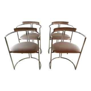 1970s Vintage Italian Steel and Velvet Chairs - Set of 4 For Sale