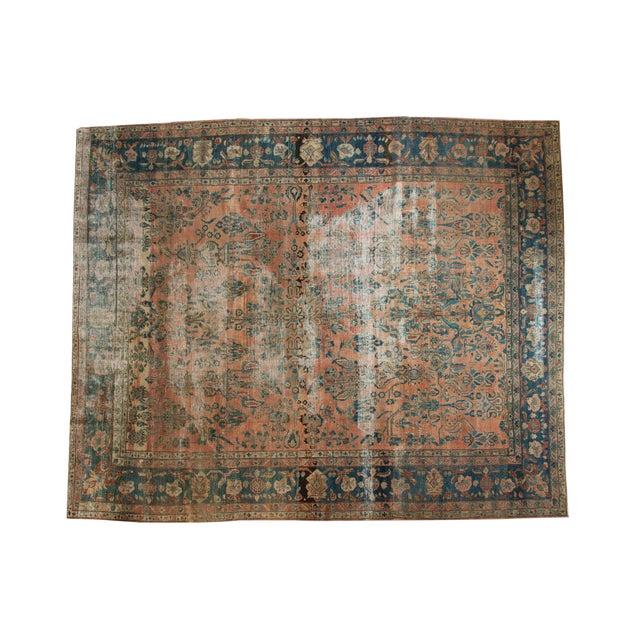 "Antique Distressed Lilihan Carpet - 9' x 11'1"" - Image 1 of 10"