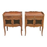 Image of 1970s Traditional Style Walnut Lattice Nightstands - a Pair For Sale