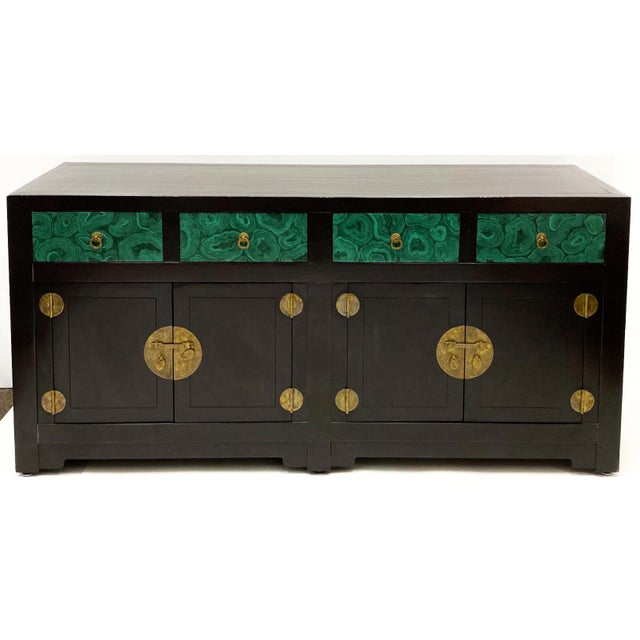 Modern Modern Asian Style Credenza With Faux Malachite Accents by Henredon For Sale - Image 3 of 6