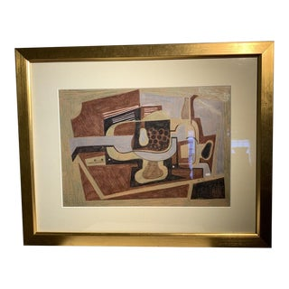 Mid 20th Century Cubist Style Color Pencil Drawing, Framed For Sale