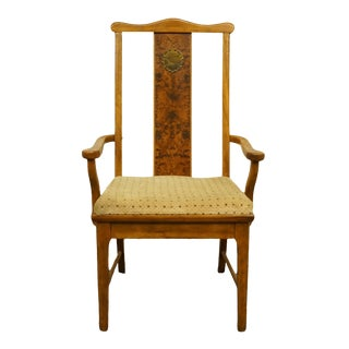 Late 20th Century Bernhardt Furniture Asian Chinoiserie Style Burled Wood Dining Arm Chair For Sale