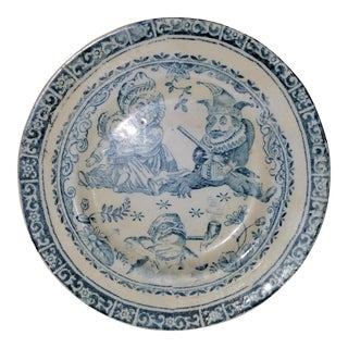 Antique 19th Century Blue & White Ironstone Child's Decorative Plate, Punch Cartoon For Sale
