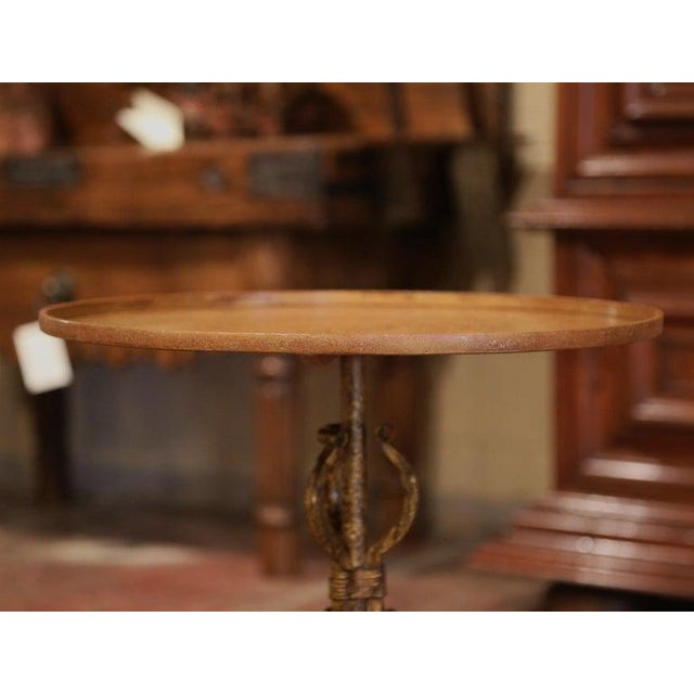 Gold 1920's French Gilt Painted Iron Pedestal Martini Side Table For Sale - Image 8 of 11