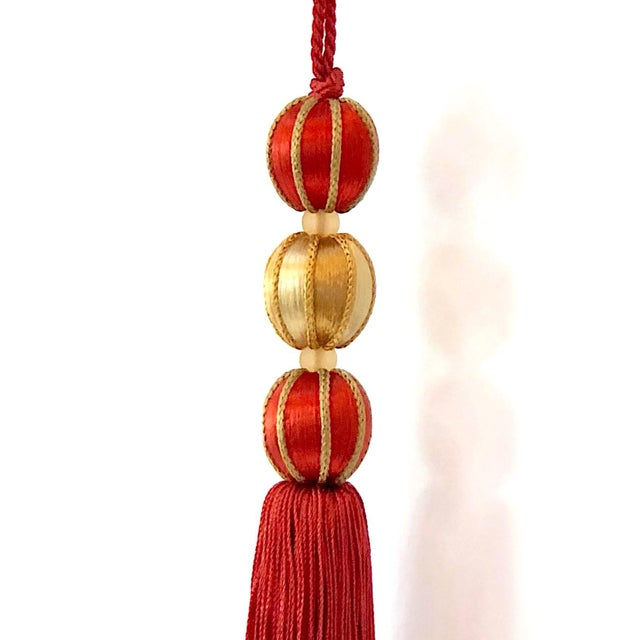 "Beaded Key Tassel in Red & Gold - 7.5"" For Sale - Image 4 of 7"