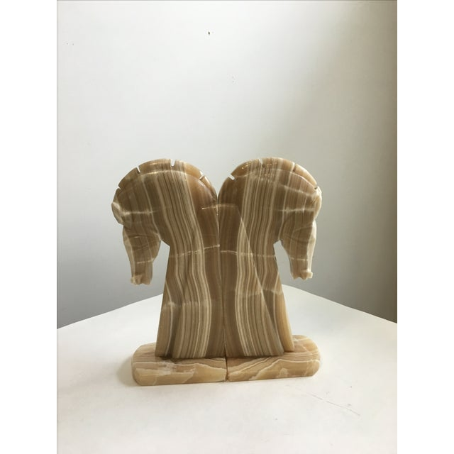 Horse Head Bookends Carved Onyx Stone - a Pair For Sale - Image 4 of 10