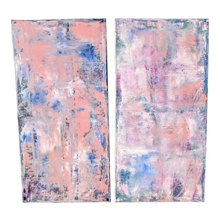 A Pair- Abstract Acrylic Paintings on Canvas For Sale