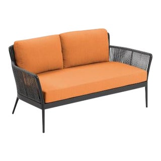Outdoor Loveseat, Carbon and Tangerine For Sale
