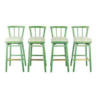 1990s Asian McGuire Bamboo and Rattan Green Stained Bar Stools - Set of 4 For Sale