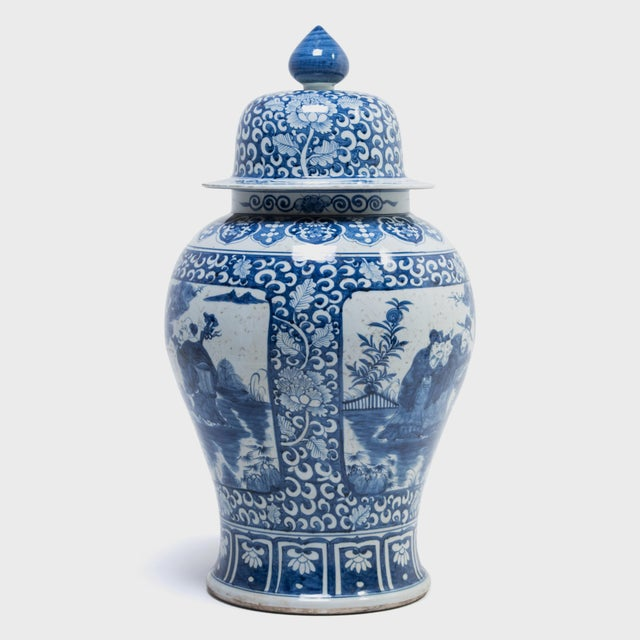 Blue and White Ginger Jar With Landscape Portraits For Sale - Image 4 of 7