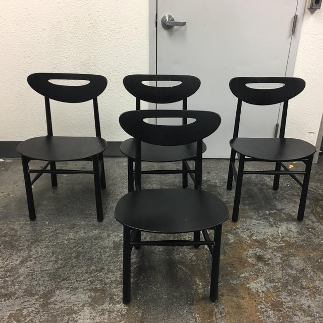 Mid-Century Style Black Dining Chairs - Set of 4 - Image 2 of 7