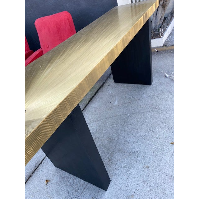 1960s 1960s Modern Soleil Brass Console Table For Sale - Image 5 of 9