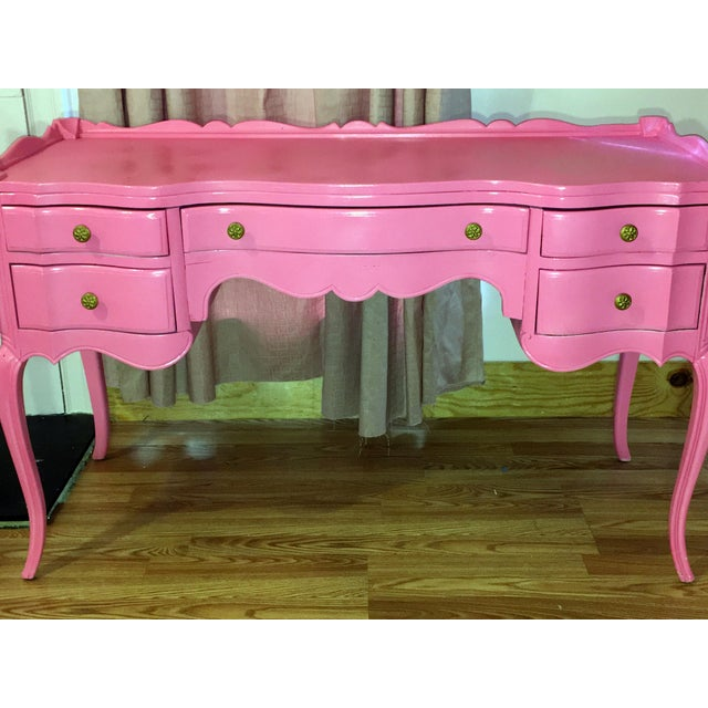 Suga Lane Hollywood Regency French Hot Pink Gold Desk - Image 3 of 13