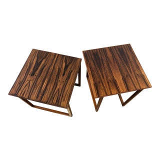 Danish Modern Old Growth Rosewood Small Side Tables, a Pair For Sale