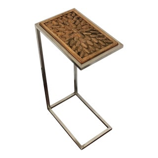Contemporary Hand Carved Wood With Stainless Steal Side Table For Sale