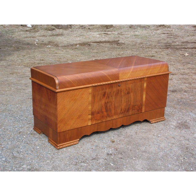 Antique LANE Art Deco Waterfall Cedar Hope Chest Storage Trunk For Sale - Image 10 of 13
