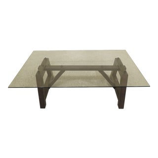 Traditional Restoration Hardware Craftsman Style Glass Top Coffee Table For Sale