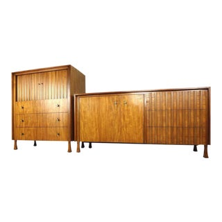 John Widdicomb Vintage Modern Highboy & Low Dresser - A Pair