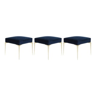 Colette Petite Brass Ottomans in Navy Velvet by Montage, Set of 3 For Sale