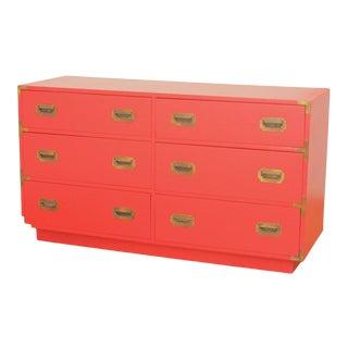 Vintage Dixie Campaigner Red Lowboy Dresser For Sale